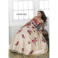 Sherri Hill 21340 Floral Embroidered Prom Dress - Crazy Sale Bridal Dresses|Special Wedding Dresses|Unique 2018 New Style Dresses