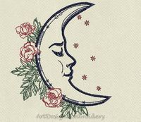 Crescent moon romantic machine embroidery design, moon romantic embroidery, crescent embroidery, crescent design, machine embroidery design $3.40