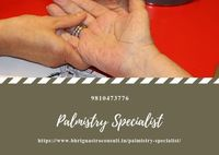 Palmistry Specialist .jpg Nowadays many problems in your life. shastri provided the solution of your all problems.Astrologer Shastri Ji is one of the best Palmistry Specialist in India.He will predict your future through the study of Palm. Prominent palm ...