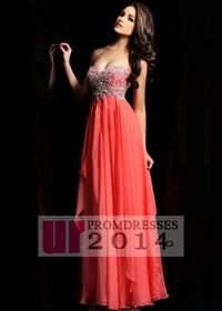 Trendy Sequined Halter Neck Coral Evening Gown 2014