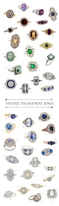 """All of those candy colored ring boxes from The Mrs. Box had me dreaming of candy colored engagement rings �€"""" vintage of course! So I've rounded up some of the yu"""