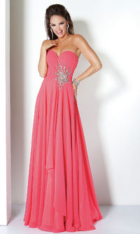 Prom Dress Sequins A Line Sweetheart Floor Length Chiffon