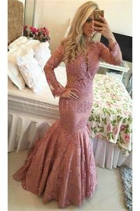 Scoop Long Sleeve Covered Button Back Pink Mermaid Prom Dress