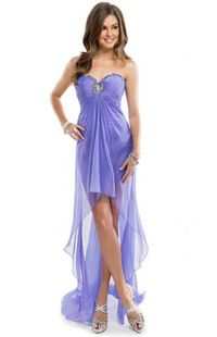 Beaded Keyhole Neckline Purple Crystal Open Back High to Low Party Dresses