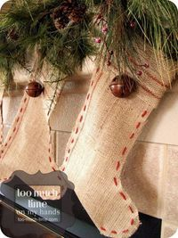 Rustic Mantle and Burlap Stockings from Too Much Time On My Hands 1 copy