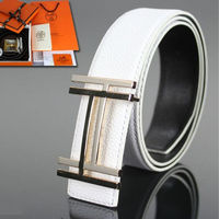 Hermes Constance Double H Belt Leather Gold Hardware In White
