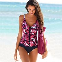 Plus Size Swimwear Women Swimsuit One Piece Swimsuit Padded Bathing Suit Polka Print High Waist Bikini Set Beachwear $32.97