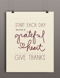 Thanskgiving Printable Art   Start Each Day With a Grateful Heart