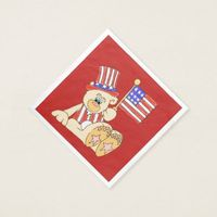Patriotic Bear With Flag Paper Napkin
