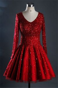 Gorgeous Ball Gown Short Red Satin Tulle Beaded Prom Dress With Sleeves