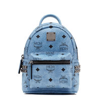 MCM X-Mini Stark Side Odeon Studded Backpack In Washed Blue