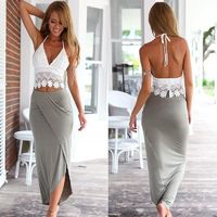 Womens Bodycon Slim Bandage Two Piece Crop Tops and Skirt Dress Set $24.32