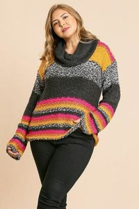Multicolor Striped Fuzzy Knit Long Sleeve Pullover $57.52