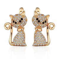 Creative Design Cat Shape Cubic Zirconia Stud Earrings Gold Silver Color Plated CZ Animal Earrings for Women Jewelry Unique Gift $29.00
