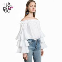 School Style Sweet Frilled Sleeves Bateau Off-the-Shoulder Summer Blouse - Bonny YZOZO Boutique Store