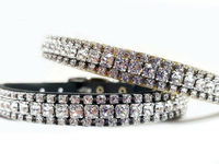 Diamante Cat Collar with Swarovski Bling | Leather Cat Safety Collars with Bell | Safety Stretch Leather Cat Collars $37.00