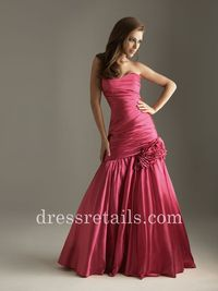 Ruched bodice rose red mermaid long evening dress Night Moves 6262 by Allure