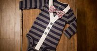 Preppy Baby Boy Cardigan Onesie and Bow Tie set -- Size 18 months