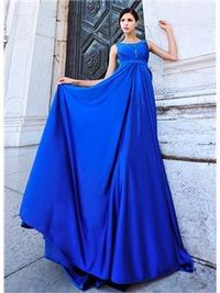Charming Scoop Bowknot Beading A-Line Floor Length Prom Dress
