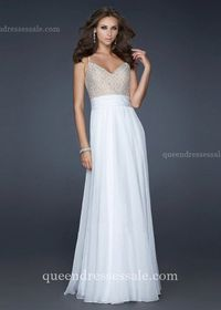 Cheap White Long Spaghetti Strap Embellished Bodice Prom Dresses