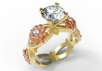 Gift for Women Diamond ring Gold ring moissanite engagement ring Solid 18K Yellow and Rose Gold $2117.00
