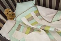Simple blue green baby quilt