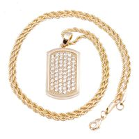 """MEN'S GOLD DOG TAG MICRO PENDANT ICED OUT IRON ROPE CHAIN 3MM 24"""" HIP HOP BLING NECKLACE Colour: Gold Material: Alloy Special Features: Gold Plated Dog Tag Pendant Iced Out Iron Rope Chain Dimensions: Chain Length: 24 inches, Width: 3mm 6 ..."""