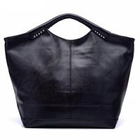 Women Rivet Handle Large Capacity Solid Tote Bags Hobos PU Leather $33.53