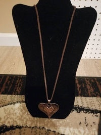 Copper Heart Necklace with Wire Wrapped Copper Heart Earrings $15.00