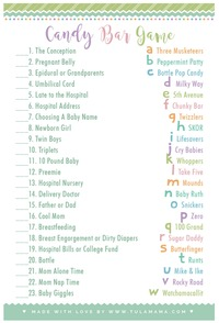 Candy bar game Free printable baby shower games