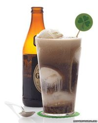 a saint patricks day drink - Guinness Float - just one 12 ounce guiness and one scoop of vanilla ice cream will do the trick
