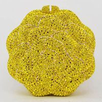 Women Yellow Fashion Luxury Crystal Diamond Evening Bag $178.17