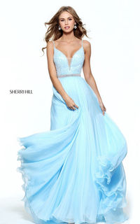 Sherri Hill 51009 Light Blue Chiffon Beads Long Prom Dress