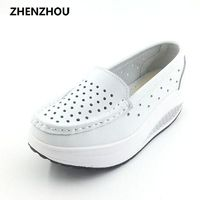 New 2017 Summer genuine leather cutout breathable swing shoes white nurse shoes wedges heighten $29.70
