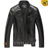 Haute Couture | Men Leather Bomber Jacket CW806037 | CWMALLS.COM