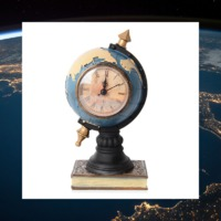 Home Decor - Blue, Black and Yellow Colour Globe with Clock Face (Size 24x11 Cm)  Material : Wooden + Plastic Handmade and hand painted Color The figure is perfect for your home, a study, living room or a gift The clock face comes out to inse...