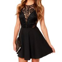 Women Black Sexy Short Sleeveless Lace Dress Short Evening Party Dresses Hollow Out $35.98