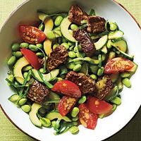 Protein-Packed Edamame Salad with Crisp Steak Bits| CookingLight.com