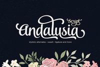 Andalusia is a Romantic Typefaces. bold, elegant & fun Vintage Script font. With almost 423 glyphs and 160 alternative characters, contain with opentype features. Stylistic alternates,swash and more. Can be used for various purposes.such as logos, wed...