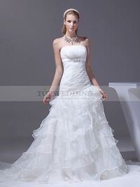 PLEATED STRAPLESS MERMAID WEDDING GOWN WITH RUFFLED SKIRT