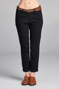 Ladies fashion cotton spandex twill long pants w/belt $22.01
