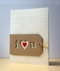 Love. Love. Love. Negative die cuts on a tag by