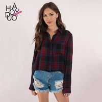 Vogue Pocket Lattice Fall Casual Blouse - Bonny YZOZO Boutique Store