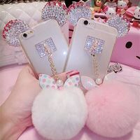 Crystal Mickey Ear Case Bowknot Fur Ball Phone Cases For iPhone 6 7/Samsung Note 3/4/5/S5/6/7edge/S8/S8plus/J5/7 USA Free gift $16.52
