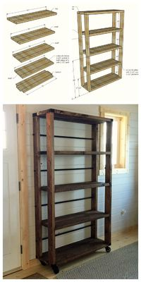 Ana White   Build a Reclaimed Wood Rolling Shelf   Free and Easy DIY Project and Furniture Plans