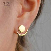 2018 Fashion Simple Sun Moon Earrings for Women Gold Color Earrings Statement Jewelry Wholesale E0204 $32.00