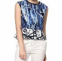 Euforia Blue sleeveless printed peplum top This blue, white and black sleeveless printed top is ideal for your office wardrobe. Team with a pair of skinny jeans and heels to complete the chic look.Fabric: 100% polyesterFit: true to sizeEssenti http://...