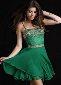 2014 Chic Short Spaghetti Straps Beaded Top Emerald Homecoming Dress