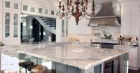 Calcutta Gold Marble Kitchen with Walnut Accents ~ yes please :-)