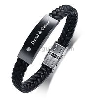 Personalized Leather Mens Bracelet Rhinestones Black https://www.gullei.com/personalized-leather-mens-bracelet-rhinestones-black.html